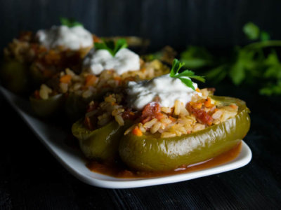 brown rice and tomato stuffed peppers