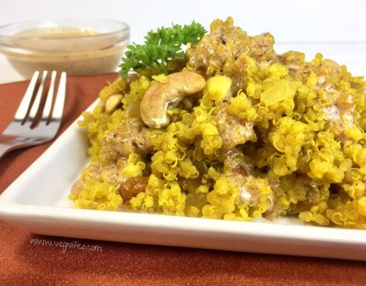 quinoa pilaf with roasted cashews and almond butter sauce