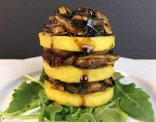 polenta rounds sauteed mushrooms kale