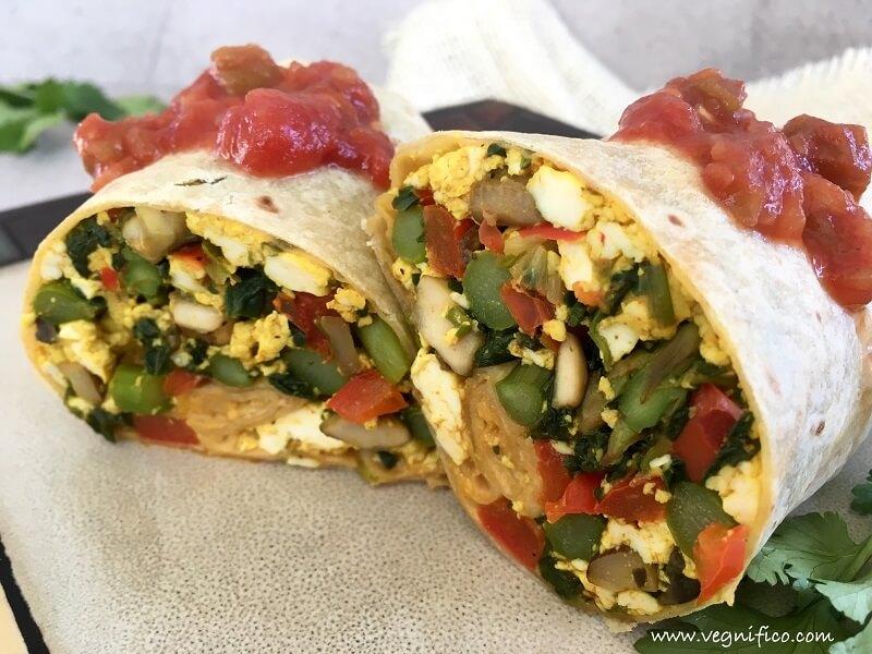 scrambled tofu veggie wraps