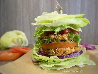 white bean quinoa burger lettuce bun