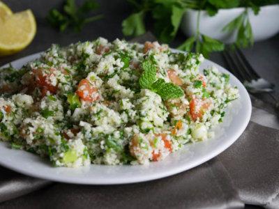 healthy cauliflower tobbouleh salad