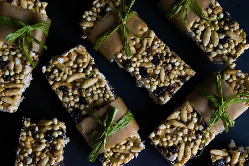 no bake puffed rice millet bars
