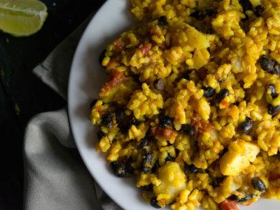 spanish rice black beans potatoes